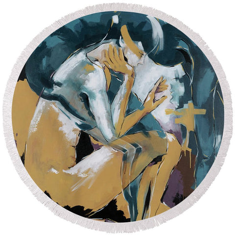 Self Reflection - Of A Dancer - Round Beach Towel