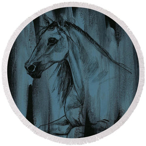 Stallion - Round Beach Towel