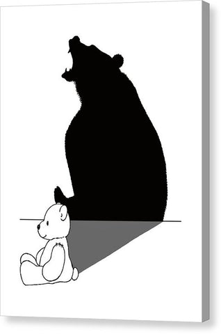 Teddybear With Roaring Bear Shadow - Canvas Print