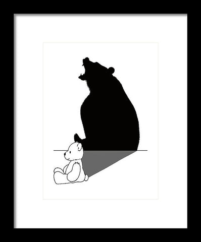 Teddybear With Roaring Bear Shadow - Framed Print