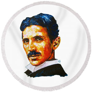 Tesla - Pure Genius - Round Beach Towel