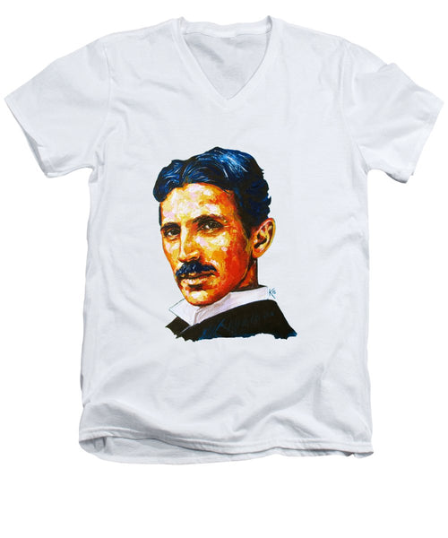 Tesla - Pure Genius - Men's V-Neck T-Shirt