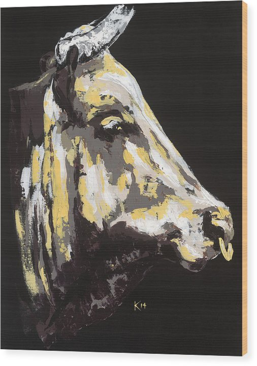 Texas Longhorn Profile - Wood Print