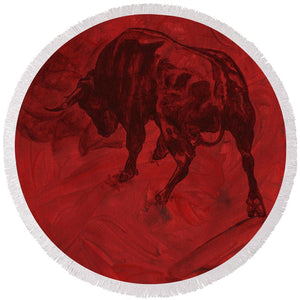 Toro Painting - Round Beach Towel