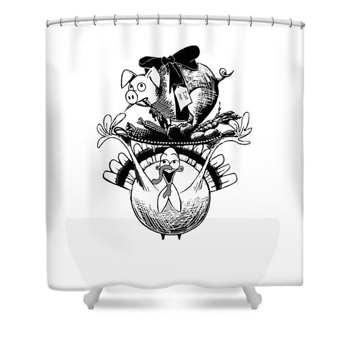 Turkey And Pig - Shower Curtain