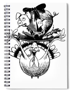 Turkey And Pig - Spiral Notebook