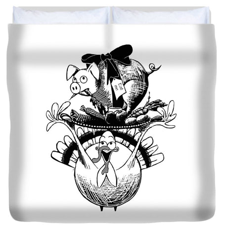 Turkey And Pig - Duvet Cover