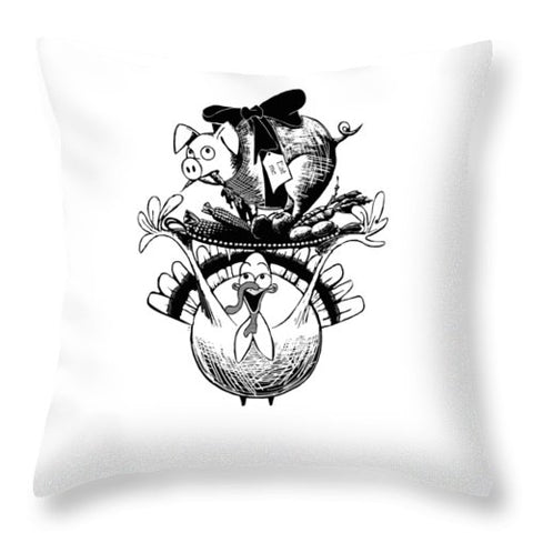 Turkey And Pig - Throw Pillow