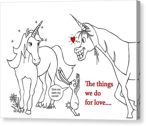 Unicorn Valentines Card - Canvas Print