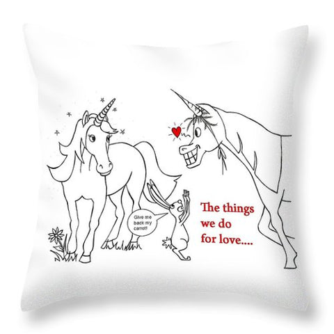 Unicorn Valentines Card - Throw Pillow