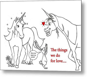 Unicorn Valentines Card - Metal Print