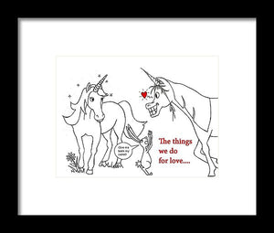 Unicorn Valentines Card - Framed Print