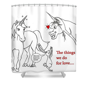 Unicorn Valentines Card - Shower Curtain