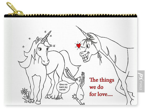 Unicorn Valentines Card - Carry-All Pouch