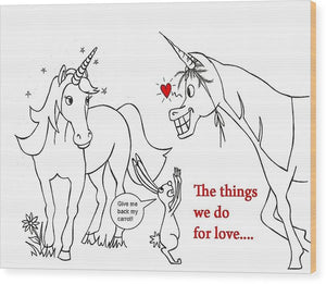Unicorn Valentines Card - Wood Print