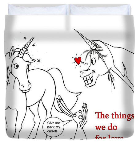 Unicorn Valentines Card - Duvet Cover