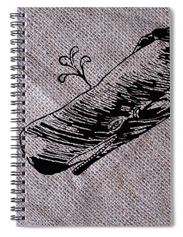 Whale On Burlap - Spiral Notebook