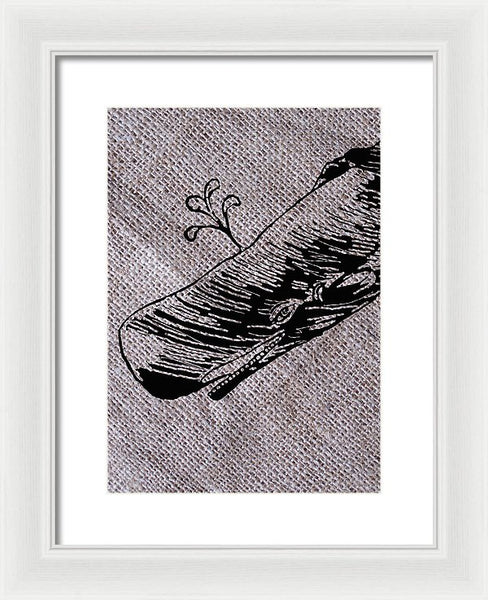 Whale On Burlap - Framed Print