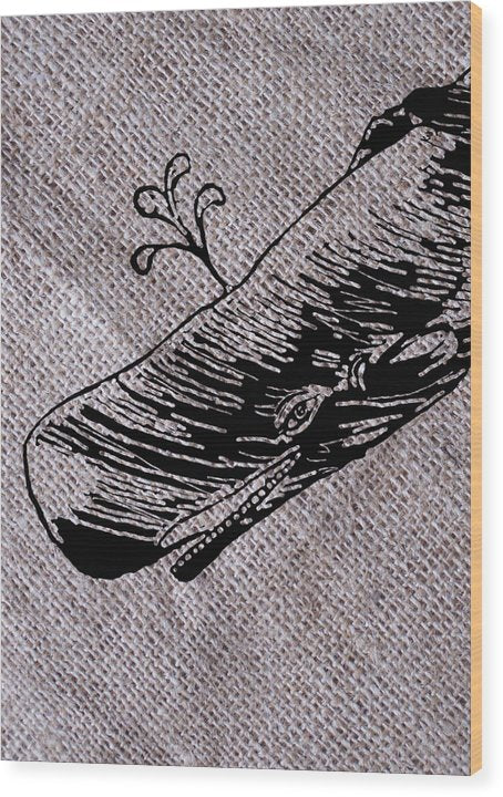 Whale On Burlap - Wood Print