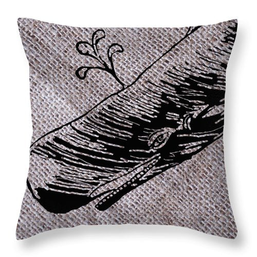 Whale On Burlap - Throw Pillow