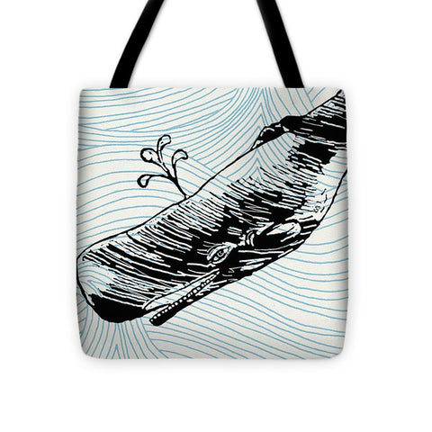 Whale On Wave Paper - Tote Bag