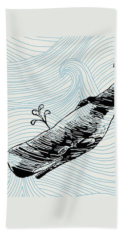 Whale On Wave Paper - Beach Towel