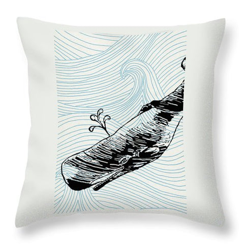 Whale On Wave Paper - Throw Pillow
