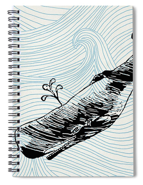 Whale On Wave Paper - Spiral Notebook