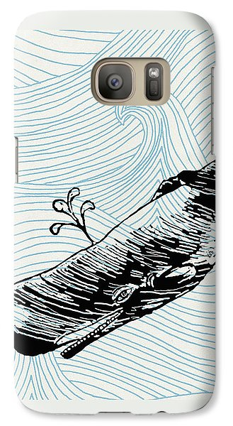 Whale On Wave Paper - Phone Case