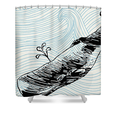 Whale On Wave Paper - Shower Curtain