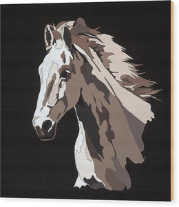 Wild Horse With Hidden Pictures - Wood Print