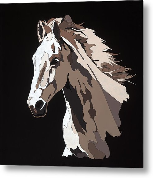 Wild Horse With Hidden Pictures - Metal Print