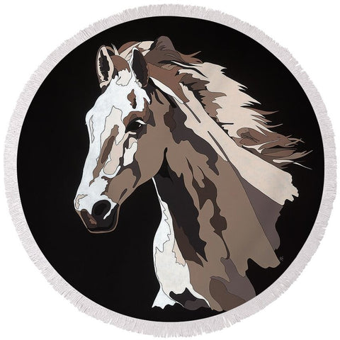Wild Horse With Hidden Pictures - Round Beach Towel