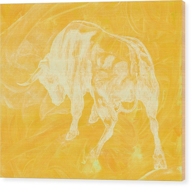 Yellow Bull Negative - Wood Print