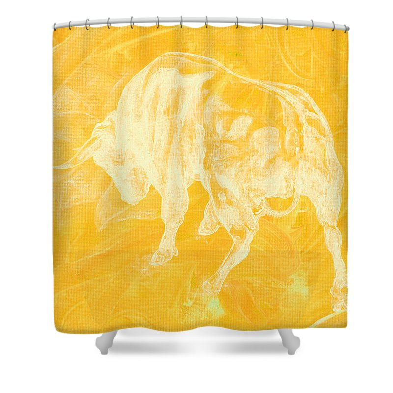 Yellow Bull Negative - Shower Curtain