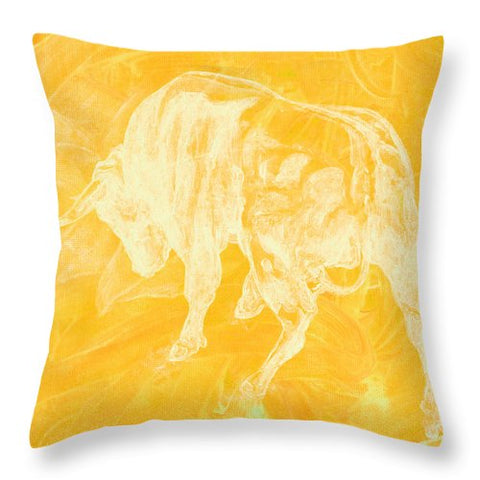 Yellow Bull Negative - Throw Pillow