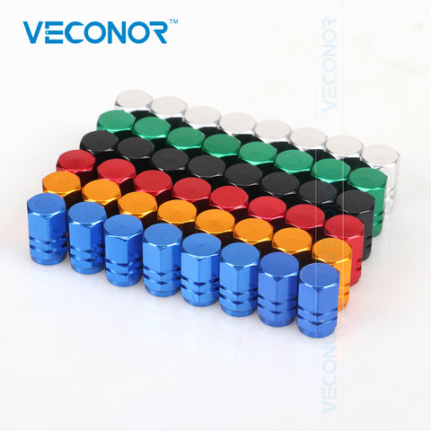 Veconor 48pieces/pack different colors universal aluminum hexgon style auto car tyre valve caps tire accessires