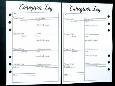 Starfish Living Planner Insert - Caregiver Log