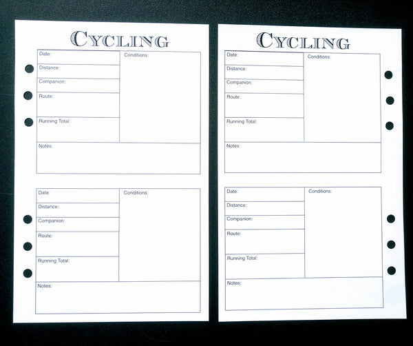 Starfish Living Planner Insert - Cycling Log