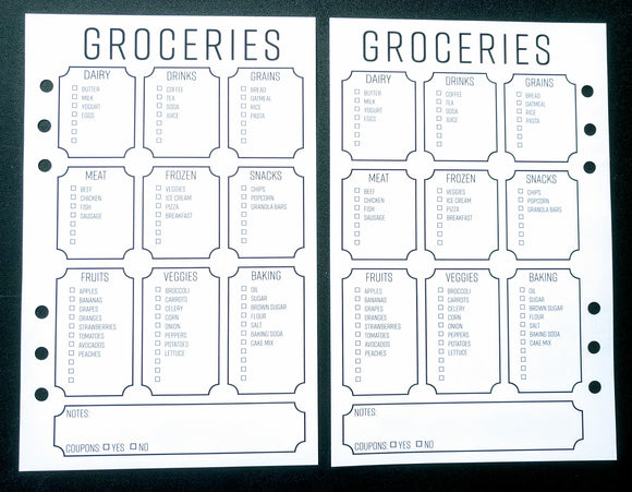 Starfish Living Planner Insert - Groceries