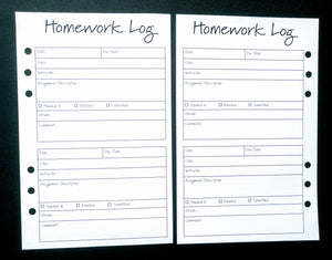 Starfish Living Planner Insert - Homework Log