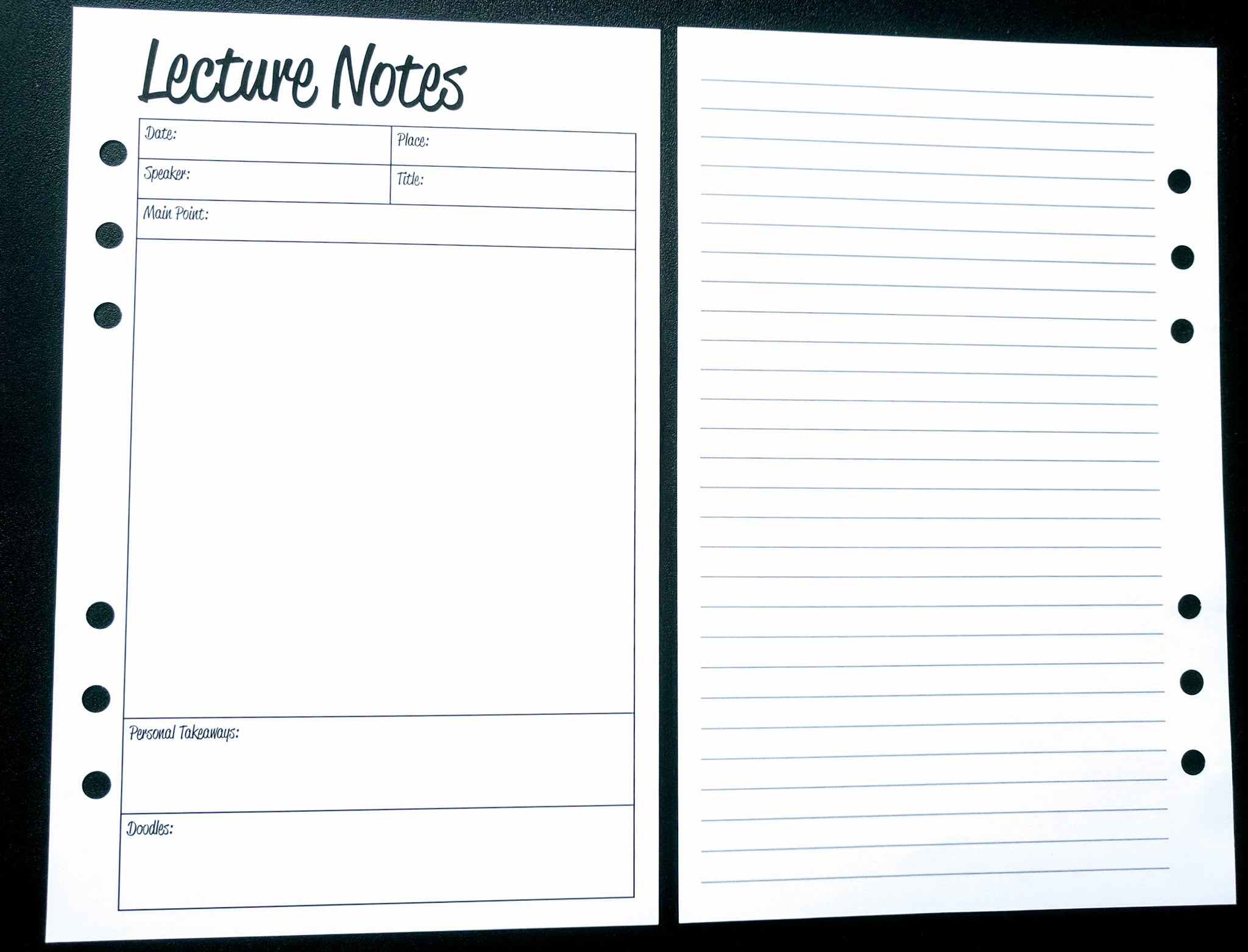 Starfish Living Planner Insert - Lecture Notes