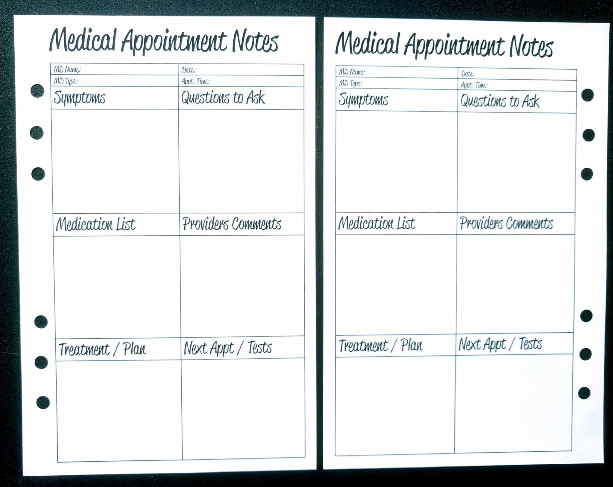 Starfish Living Planner Insert - Medical Appointment Notes