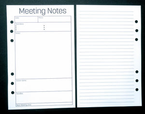Starfish Living Planner Insert - Meeting Notes
