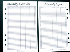 Starfish Living Planner Insert - Monthly Expenses
