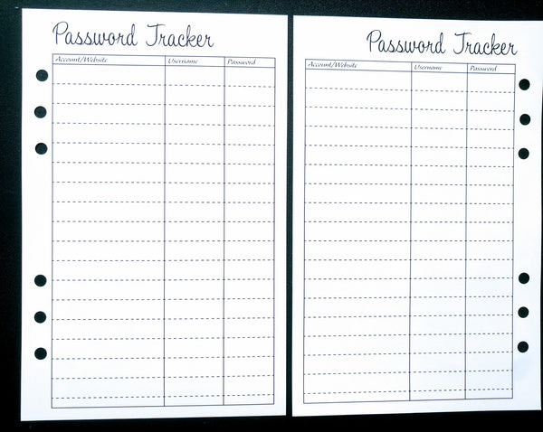 Starfish Living Planner Insert - Password Tracker