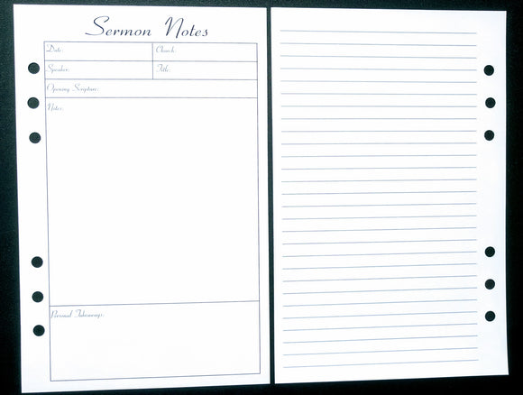 Starfish Living Planner Insert - Sermon Notes