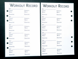 Starfish Living Planner Insert - Workout Record