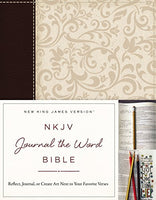 NKJV Journal the Word Leathersoft Brocade in Brown and Cream