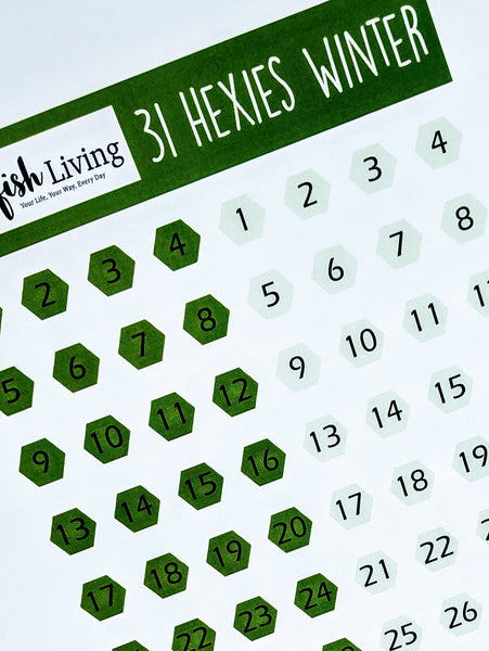 Starfish Living Stickers 31 Hexies Winter